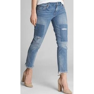 • GAP • Distressed Mid Rise Girlfriend Jeans